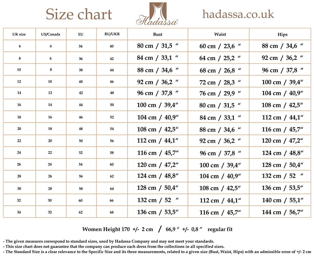 Hadassa\'s size chart