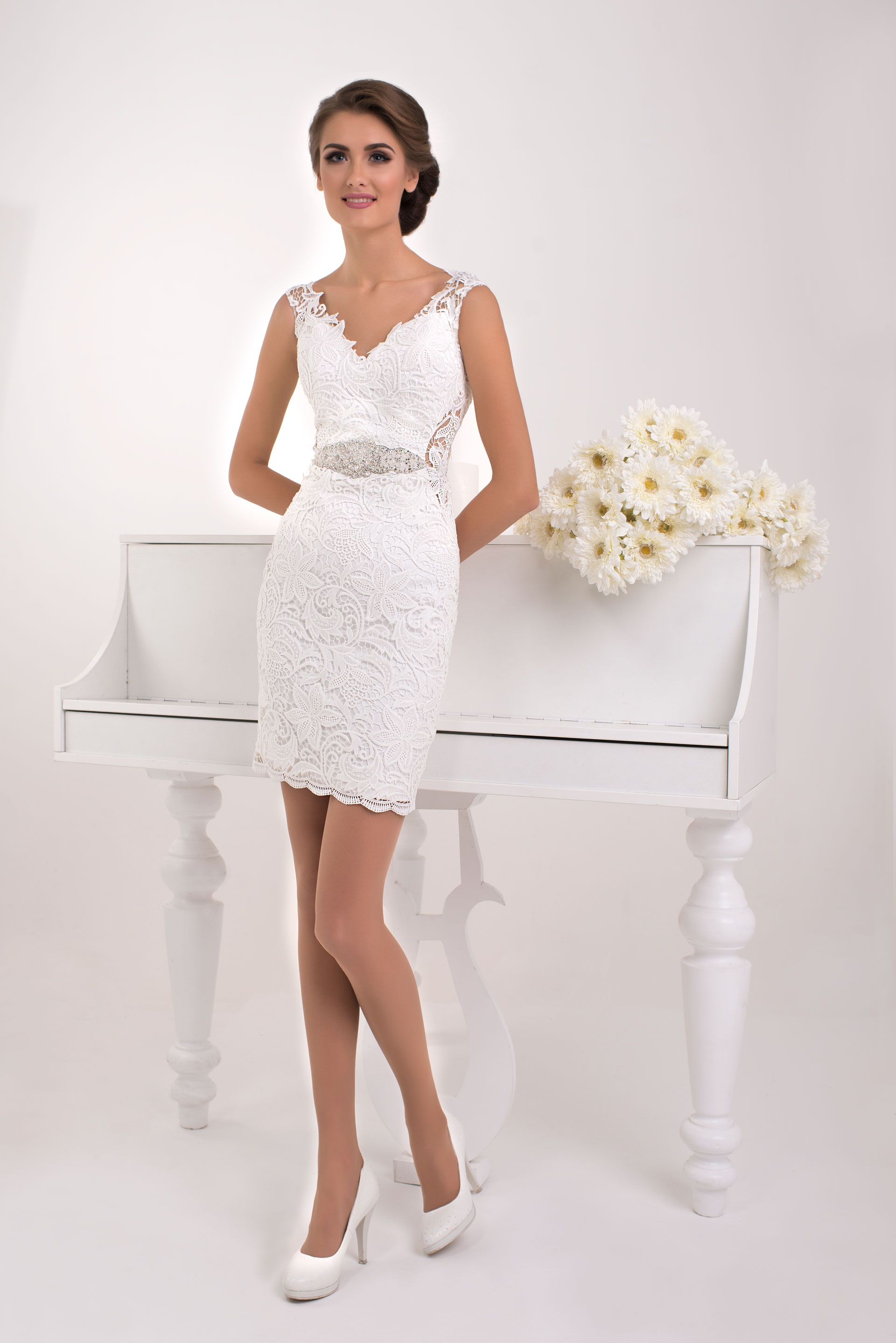 Crochet Lace Wedding Dress with Crystals