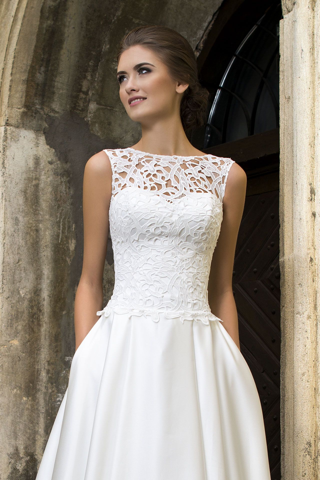 Wedding dress shannon satin skirt with train lace for Lace corset top wedding dress